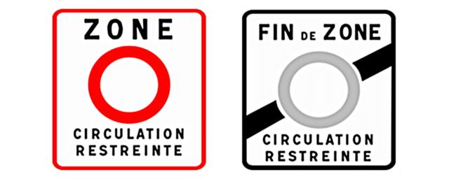 Begin (links) en einde van een Franse milieuzone.
