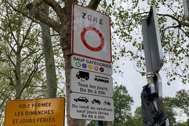 Bord begin milieuzone Parijs