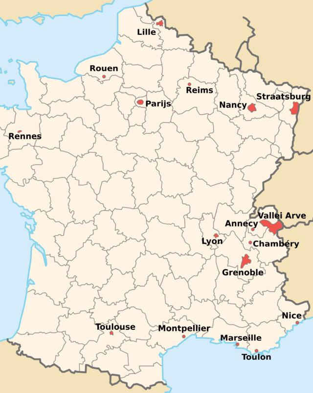 Kaart milieuzones Frankrijk